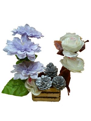 Floral Expressions Light Purple Dahlia & White Roses Artificial Flowers With Vase
