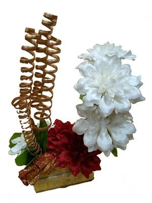 Floral Expressions White Dahlia & Red Dahlia Artificial Flowers With Vase