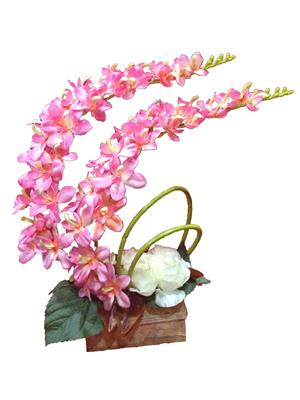 Floral Expressions Pink Orchids & White Roses Artificial Flowers With Vase
