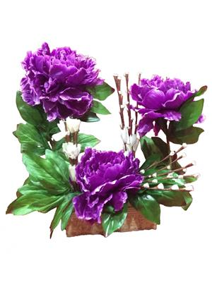 Floral Expressions Purple Peony Artificial Flowers With Vase