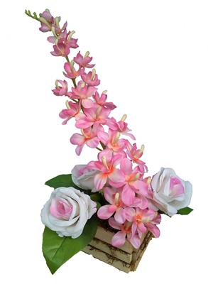 Floral Expressions Pink Orchids & Roses Artificial Flowers With Vase