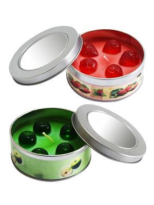 Peepalcomm Fruitcandle Green-Red  Candle Set Of 2