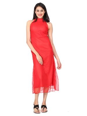 SHIVABHIS Fullnetredrs01 Red Women Dresses