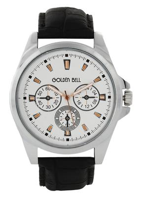 Golden Bell GB-0013WDBlkStrap White Men Analog Watch