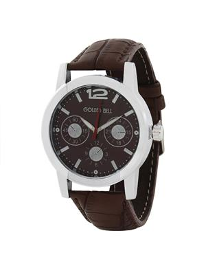 Golden Bell Trendy Brown Chronograph Look Dial Formal Watch