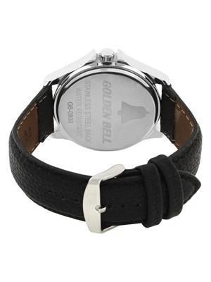 Golden Bell GB-008WDBlkStrap White Men Analog Watch