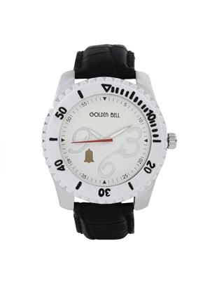 Golden Bell Stylish White Dial White Bezel Chronograph Look Watch