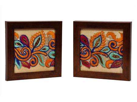 HOMEZ GC15 Cream Tea Coaster with Resham Embroidery Set of 2