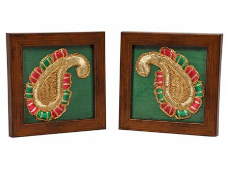 HOMEZ GC5 Green Tea Coaster with embroidered Paisley Set of 2