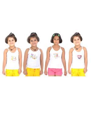 Lilsugar Gcam04 White Girl Camisole Set Of 4
