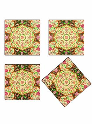 Kolorobia  GCMGD14 Mesmerizing Mughal Glass Coasters