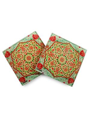 Kolorobia  GCMGL12 Exquisite Mughal Glass Coaster