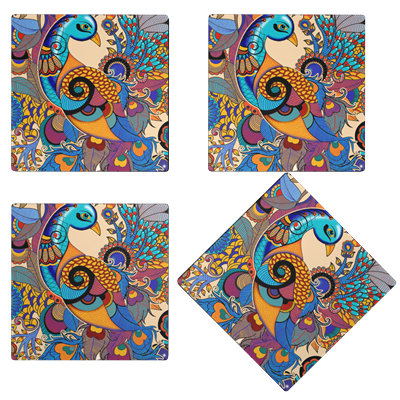 Kolorobia  GCP16 Colorful Peacock Glass Coasters