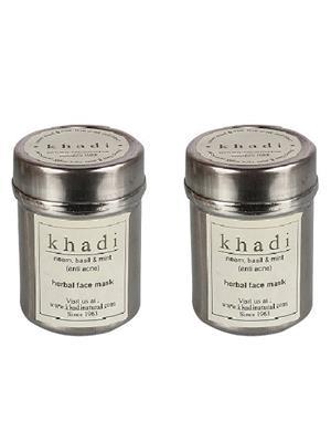 Khadi Gekhadi107 Neem Basil And Mint Anti Acne Face Pack 50G (Pack Of 2) Face Mask