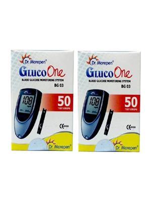 Dr. Morepen Gluco Meter 50 Test Strips (Pack of 2), No Glucometer