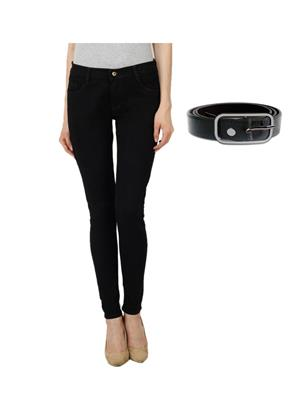 Ansh Fashion Wear Girl-Blk-Belt-1 Black Women Jeans With Belt