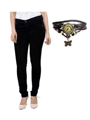 Ansh Fashion Wear Blk-Rakhi-4 Black Women Jeans With Bracelet Watch