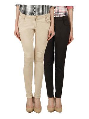 Ansh Fashion Wear Ch-Lbg-Brown Women Chinos Set Of 2