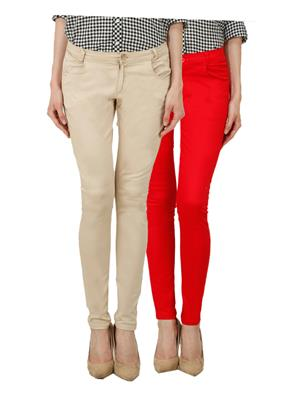 Ansh Fashion Wear Ch-Lbg-Red Women Chinos Set Of 2