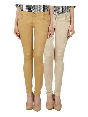 Ansh Fashion Wear Ch-Mbg-Lbg Women Chinos Set Of 2