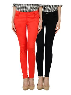 Ansh Fashion Wear Ch-Orange-Black Women Chinos Set Of 2