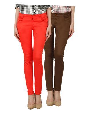 Ansh Fashion Wear Ch-Orange-Dbg Women Chinos Set Of 2