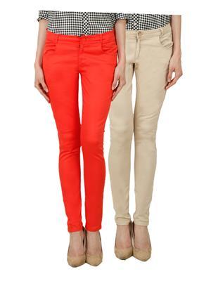 Ansh Fashion Wear Ch-Orange-Lbg Women Chinos Set Of 2