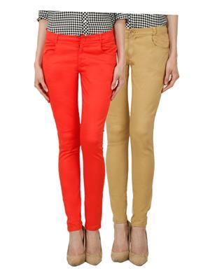 Ansh Fashion Wear Ch-Orange-Mbg Women Chinos Set Of 2
