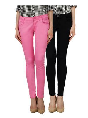 Ansh Fashion Wear Ch-Pink-Black Women Chinos Set Of 2