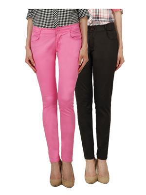 Ansh Fashion Wear Ch-Pink-Brown Women Chinos Set Of 2