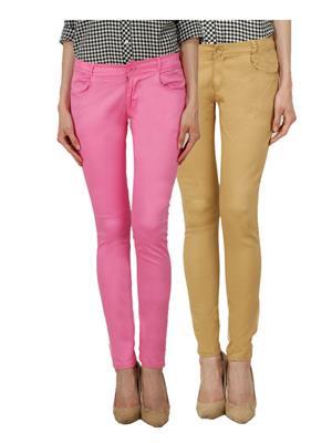 Ansh Fashion Wear Ch-Pink-Mbg Women Chinos Set Of 2