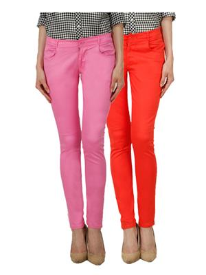 Ansh Fashion Wear Ch-Pink-Orange Women Chinos Set Of 2