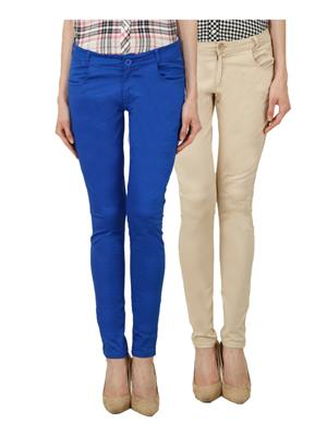 Ansh Fashion Wear Ch-R Blue-Lbg Women Chinos Set Of 2