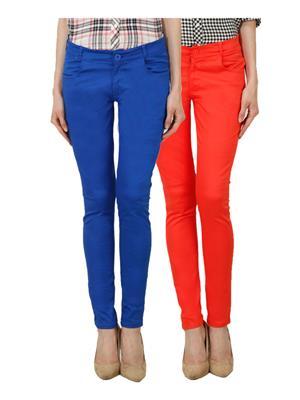 Ansh Fashion Wear Ch-R Blue-Orange Women Chinos Set Of 2