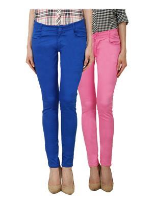 Ansh Fashion Wear Ch-R Blue-Pink Women Chinos Set Of 2