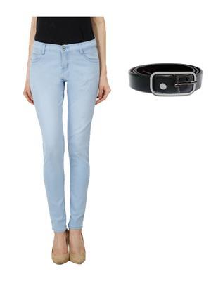 Ansh Fashion Wear Girl-Lb-Monkey-2 Blue Women Jeans With Belt