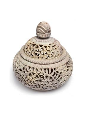 Artist Haat Brown Stone 1 Candle  Holder