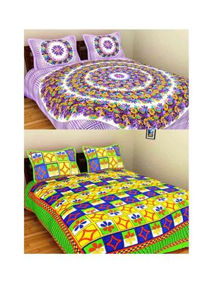 GRJ INDIA GRJ-2DB-70PL-67 Multicolored Double Bedsheet Combo