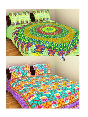 GRJ INDIA GRJ-2DB-72GRN-67 Multicolored Double Bedsheet Combo