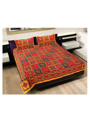 GRJ INDIA GRJ-DB-211 Multicolored Double Bedsheet