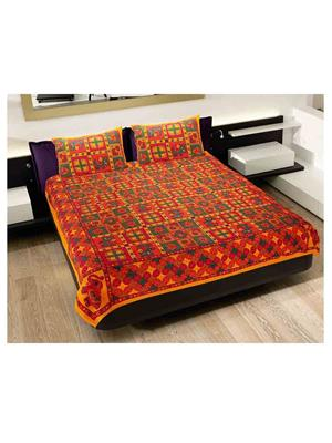 GRJ INDIA GRJ-DB-212 Multicolored Double Bedsheet