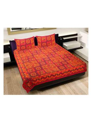 GRJ INDIA GRJ-DB-214 Multicolored Double Bedsheet