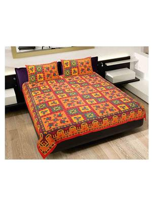 GRJ INDIA GRJ-DB-220 Multicolored Double Bedsheet