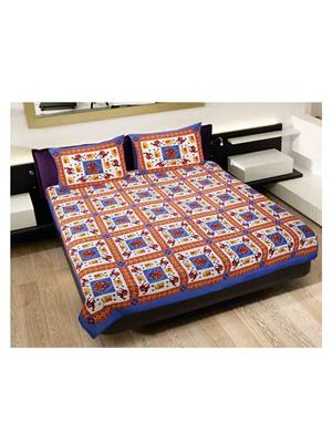 GRJ INDIA GRJ-DB-244 Multicolored Double Bedsheet