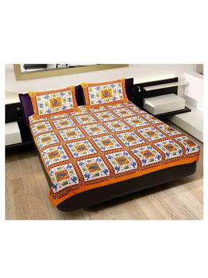GRJ INDIA GRJ-DB-245 Multicolored Double Bedsheet