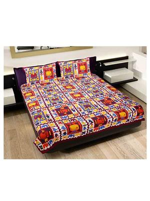GRJ INDIA GRJ-DB-246 Multicolored Double Bedsheet