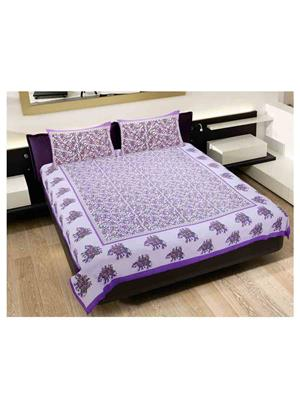 GRJ INDIA GRJ-DB-262 Multicolored Double Bedsheet