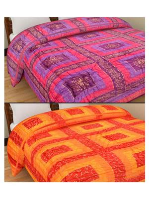 GRJ INDIA GRJ-SQ150-SQ154 Multicolored  Quilts (Set of Two)