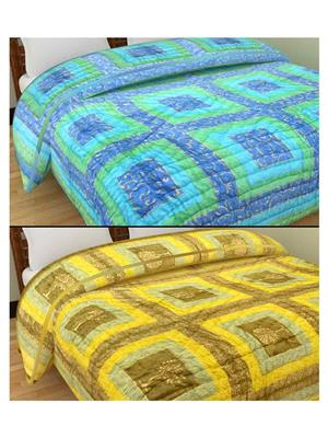 GRJ INDIA GRJ-SQ153-SQ155 Multicolored  Quilts (Set of Two)