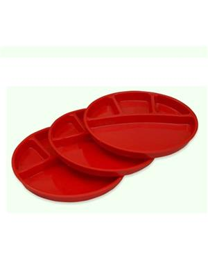 Ghar Sansar GS0013 Red  Plastic Plate Set of 6
